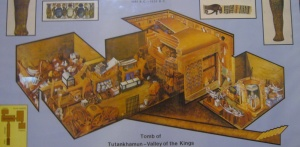 Diagram showing how Tutenkhamen's treasures were laid out in his tomb.